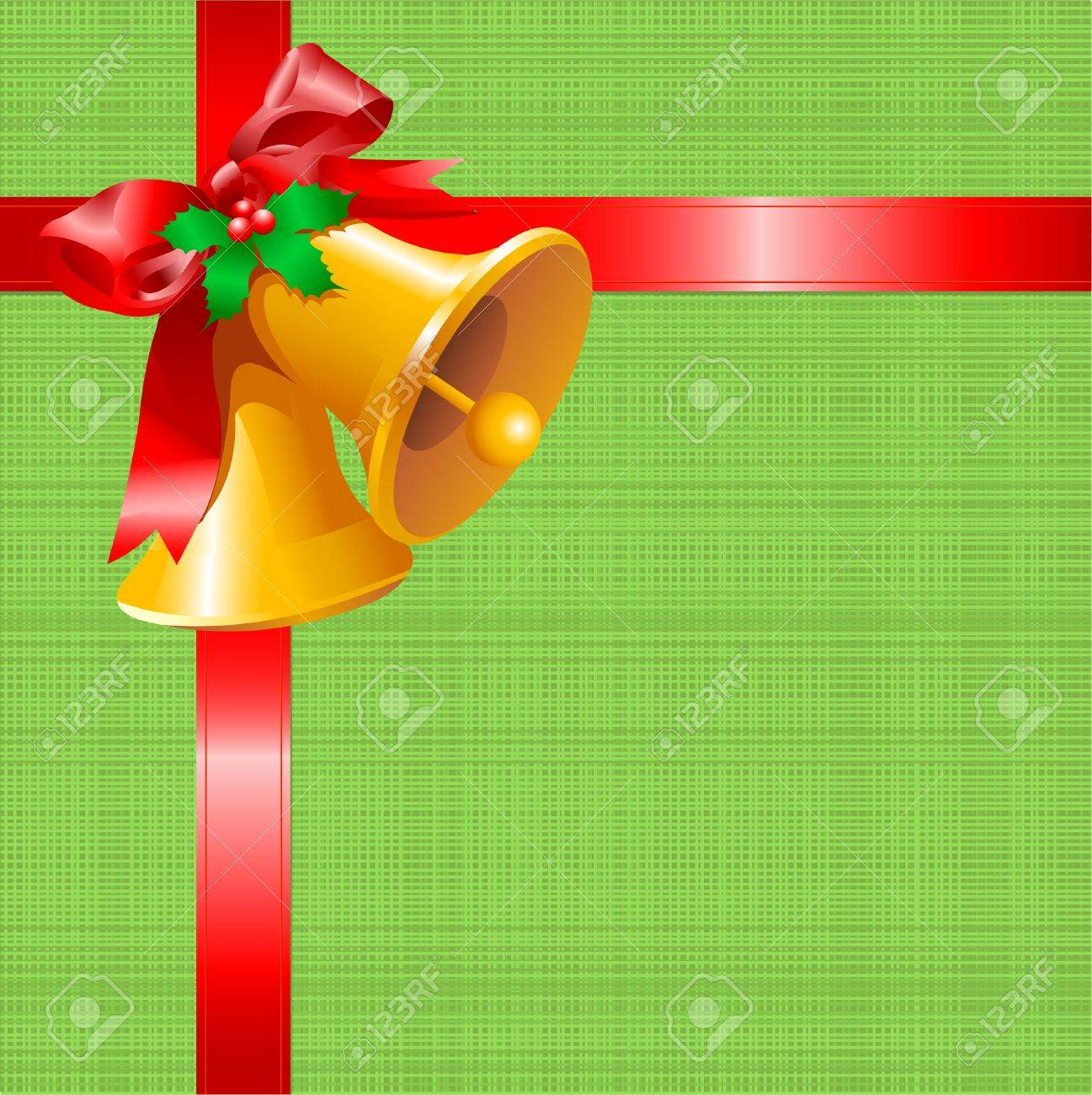 Christmas card with bells on green canvas background Stock Vector - 8195436