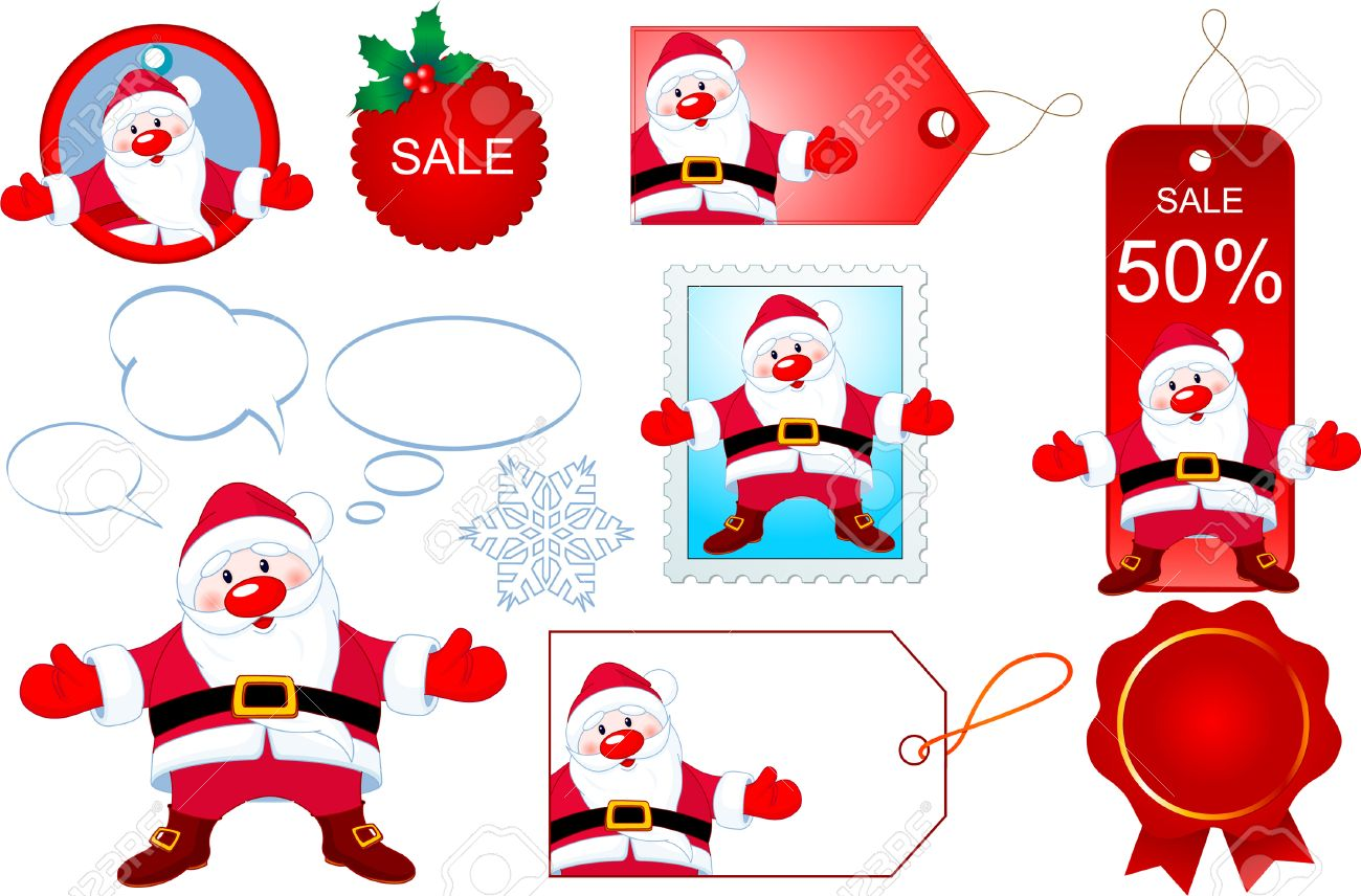 Christmas design elements with Santa Claus opening hug Stock Vector - 8261970