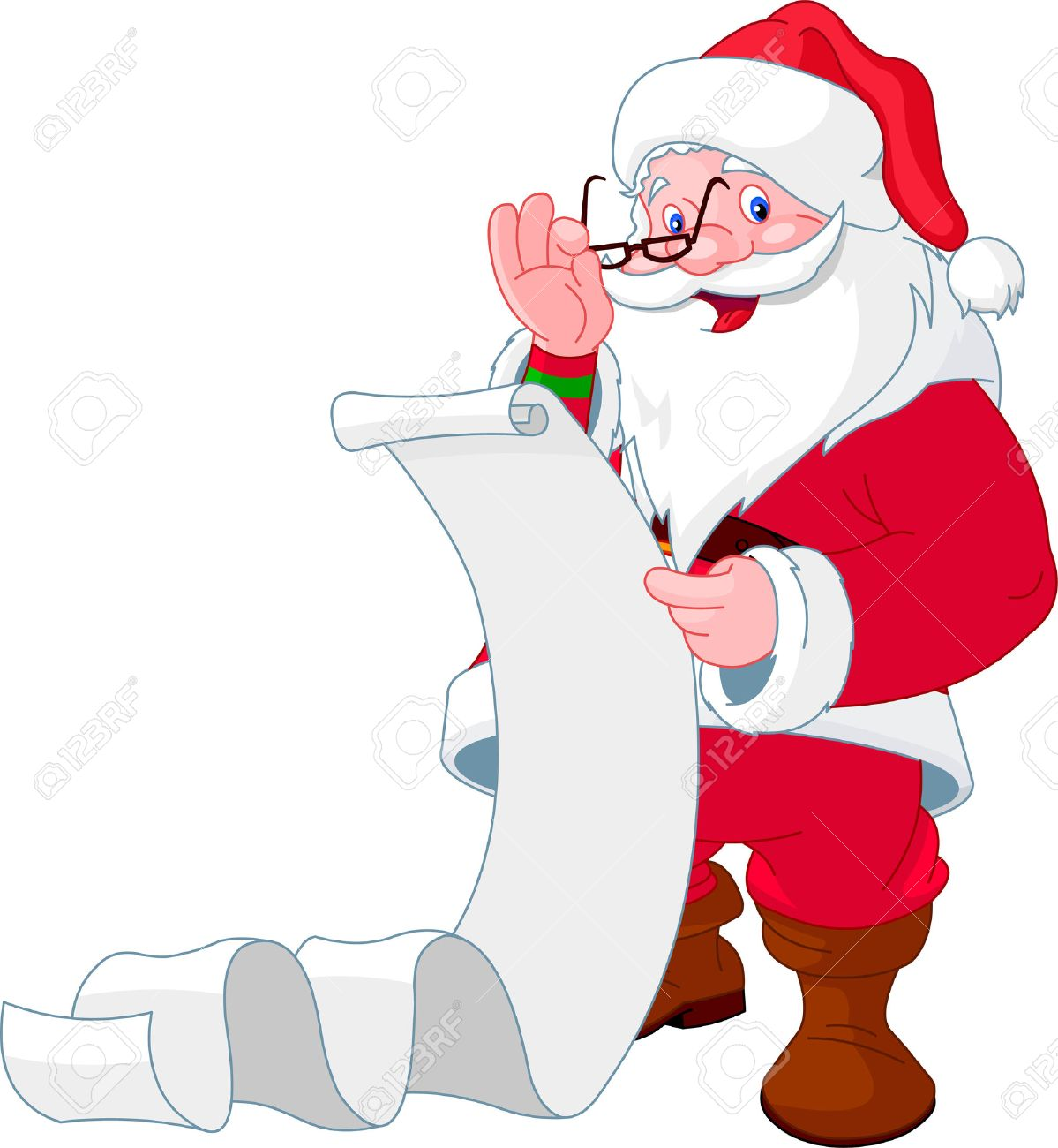 Santa Claus reading a long  list of gifts Stock Vector - 8261971