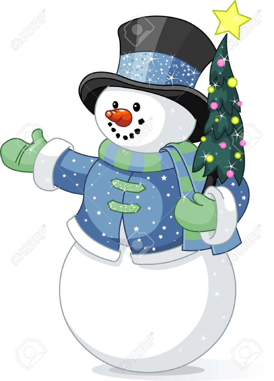 illustration of cute snowman with christmas tree royalty free