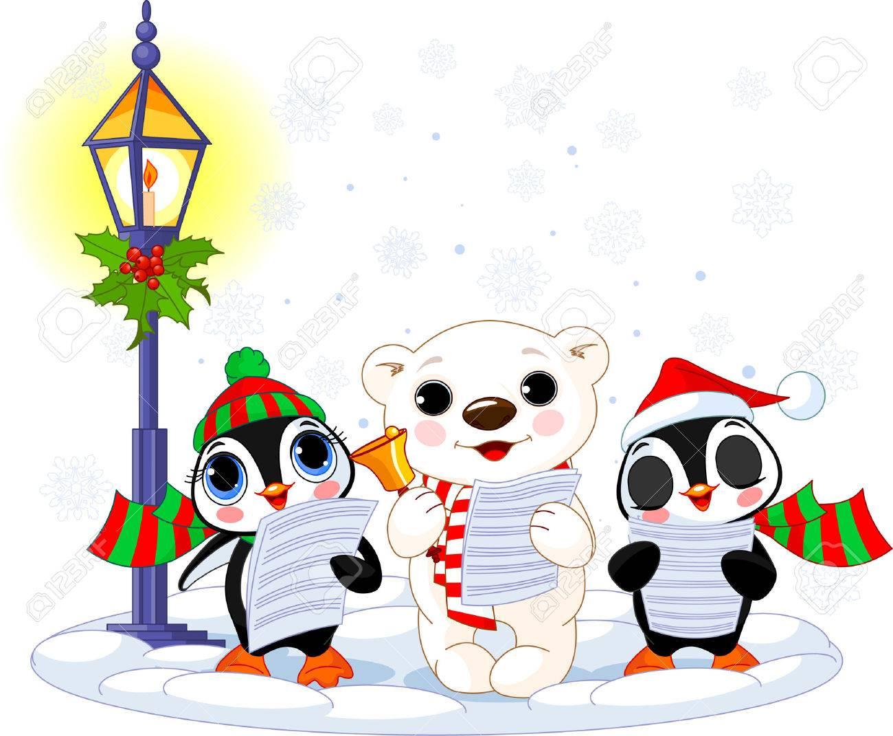 Christmas carolers � cute polar bear and two penguins- under streetlight Stock Vector - 8339598