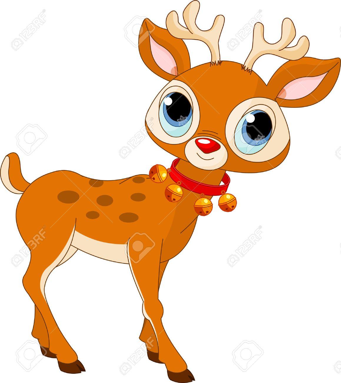 Illustration of beautiful cartoon reindeer Rudolf - 8339602