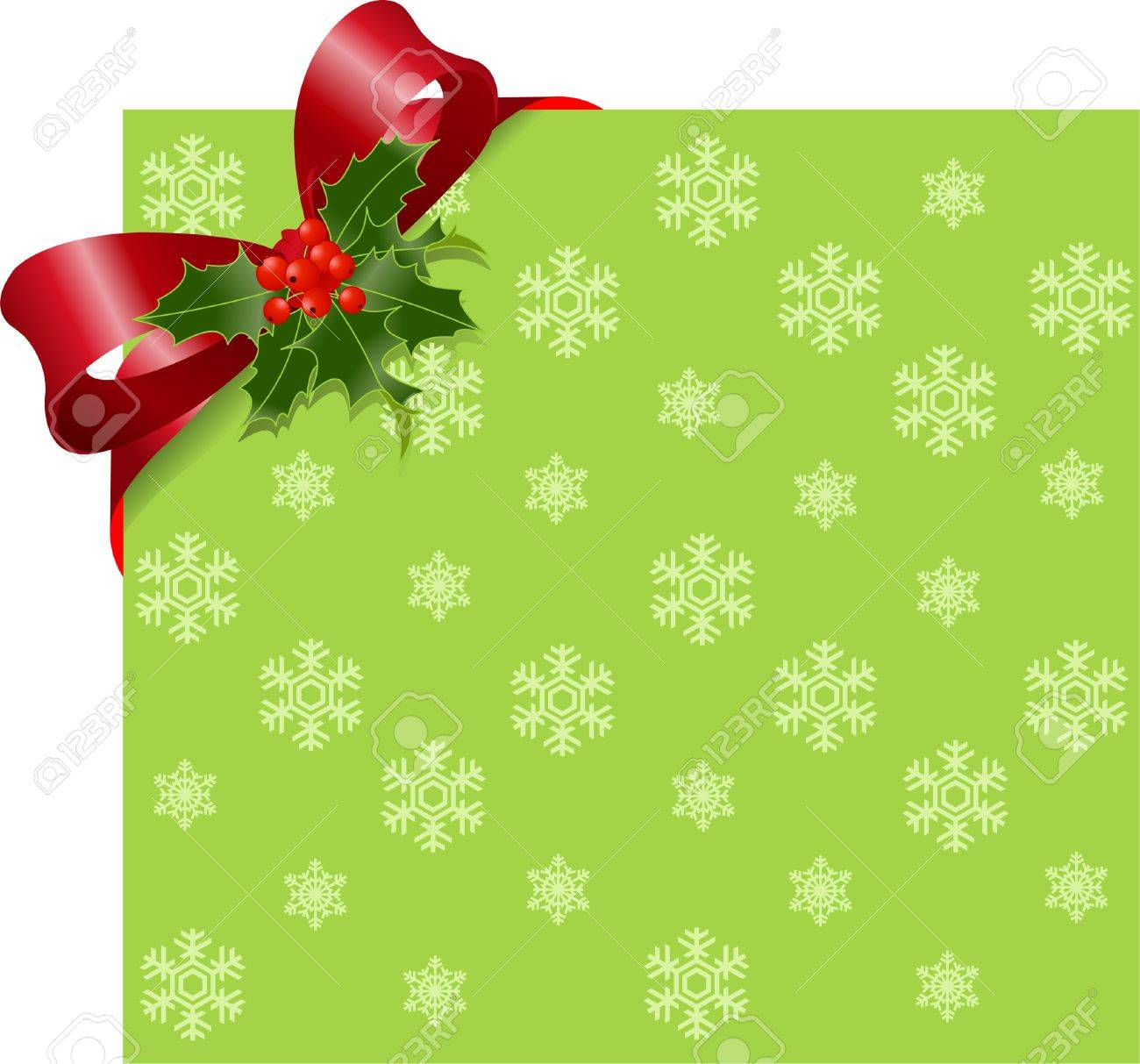 Christmas Green page corner with red ribbon and bow. Place for copy/text. Stock Vector - 8377195