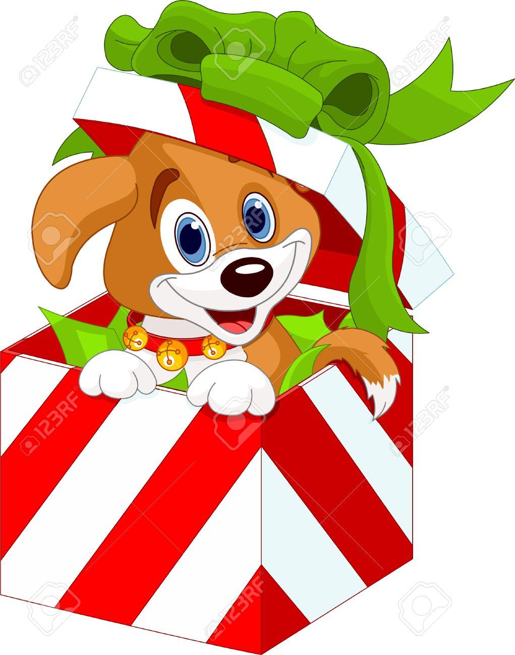 cute puppy in a christmas gift box royalty free cliparts vectors rh 123rf com Beagle Christmas Clip Art Puppy Christmas Art