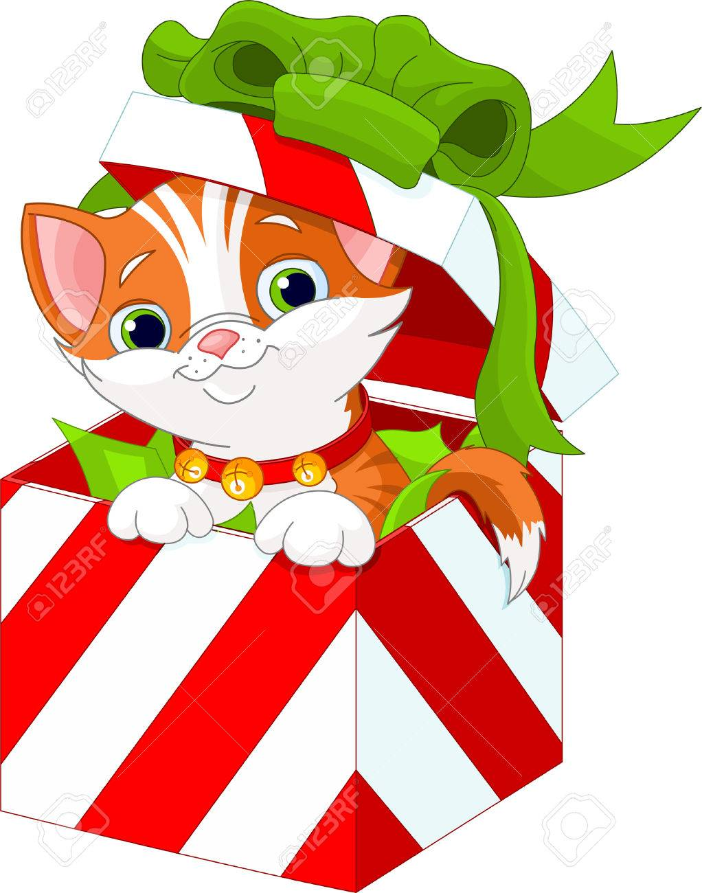 cute kitten in a christmas gift box royalty free cliparts vectors