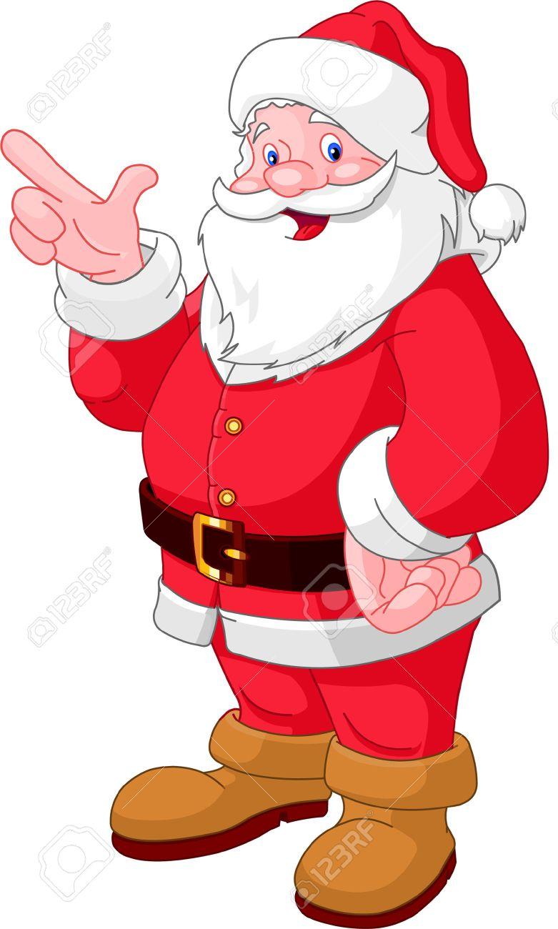 Glücklich Weihnachten Weihnachtsmann Zeigen Lizenzfrei Nutzbare ...