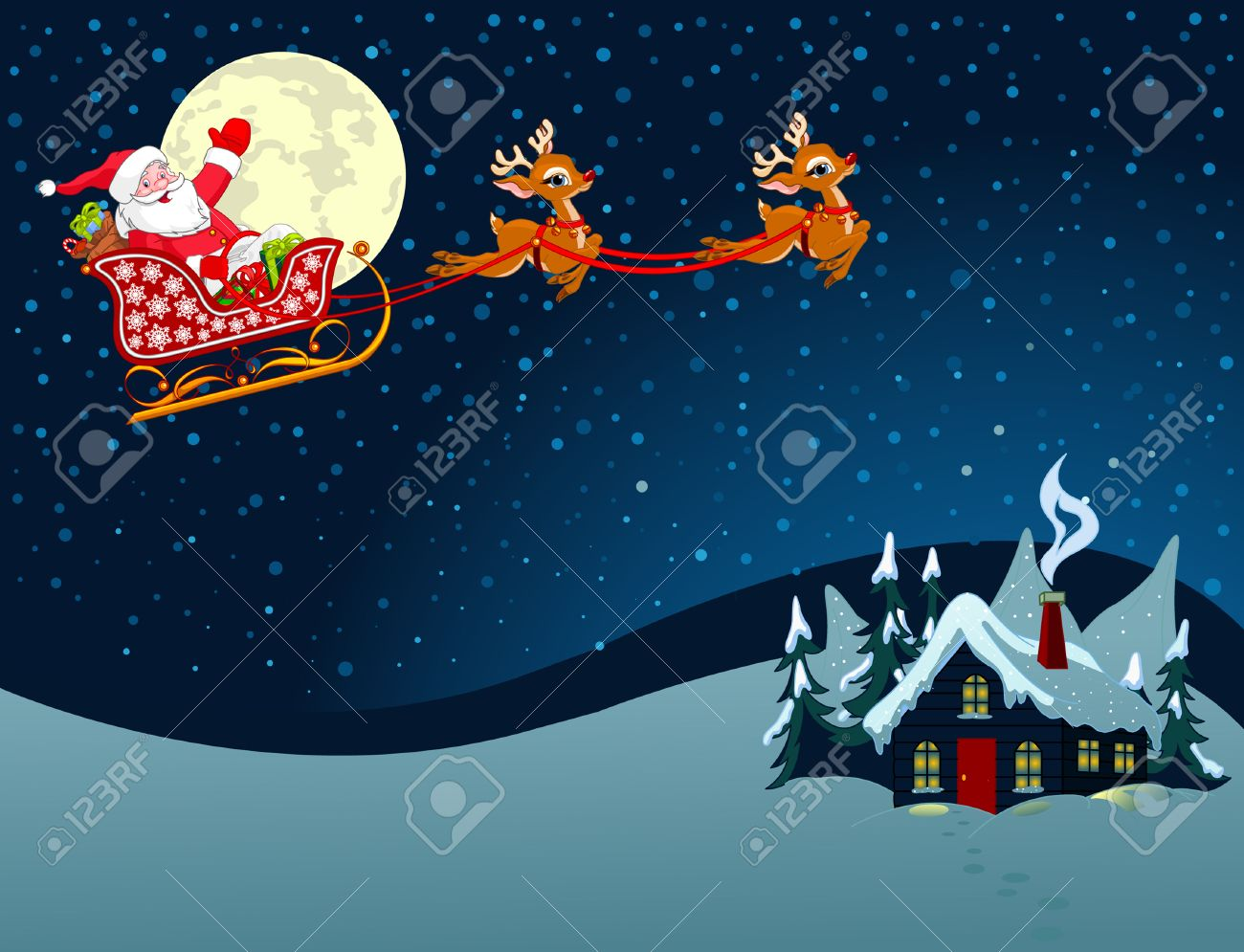cartoon illustration of santa claus in his sleigh royalty free