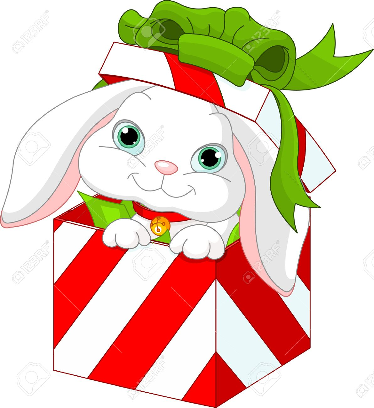 Cute Bunny In A Christmas Gift Box Stock Vector