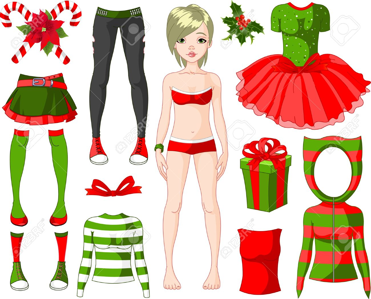 Paper Doll with different Christmas dresses Stock Vector - 8426144