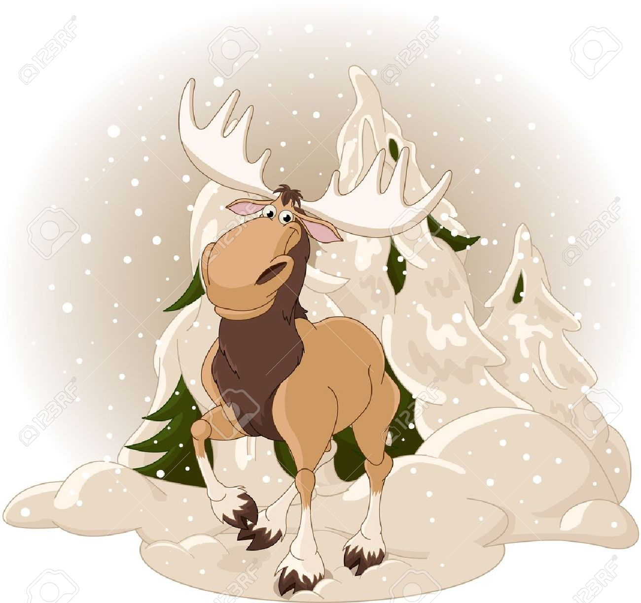 Right winter design with moose against a snowy forest background Stock Vector - 8459197