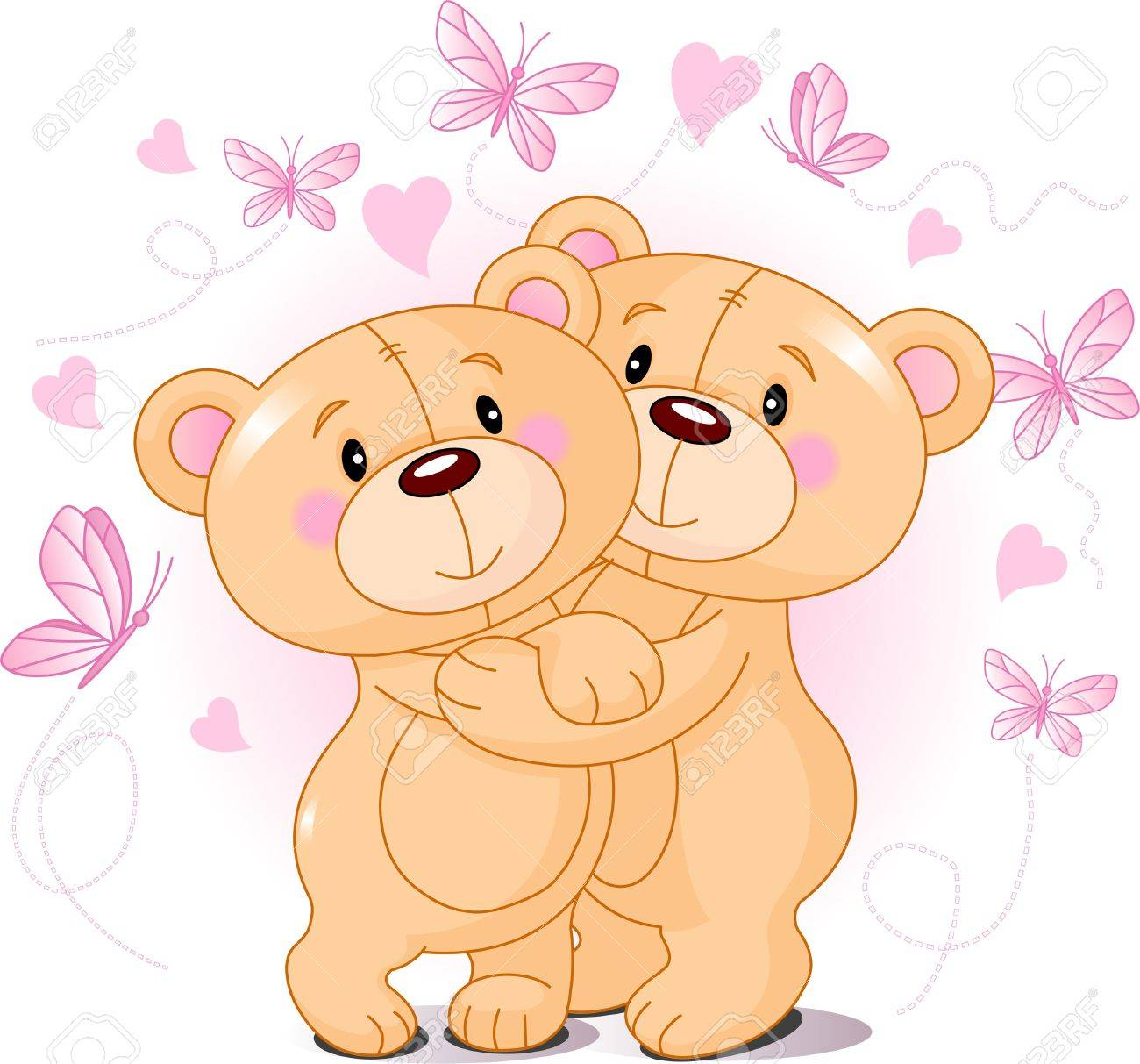 Two Cute Teddy Bears In Love Royalty Free Cliparts, Vectors, And ...