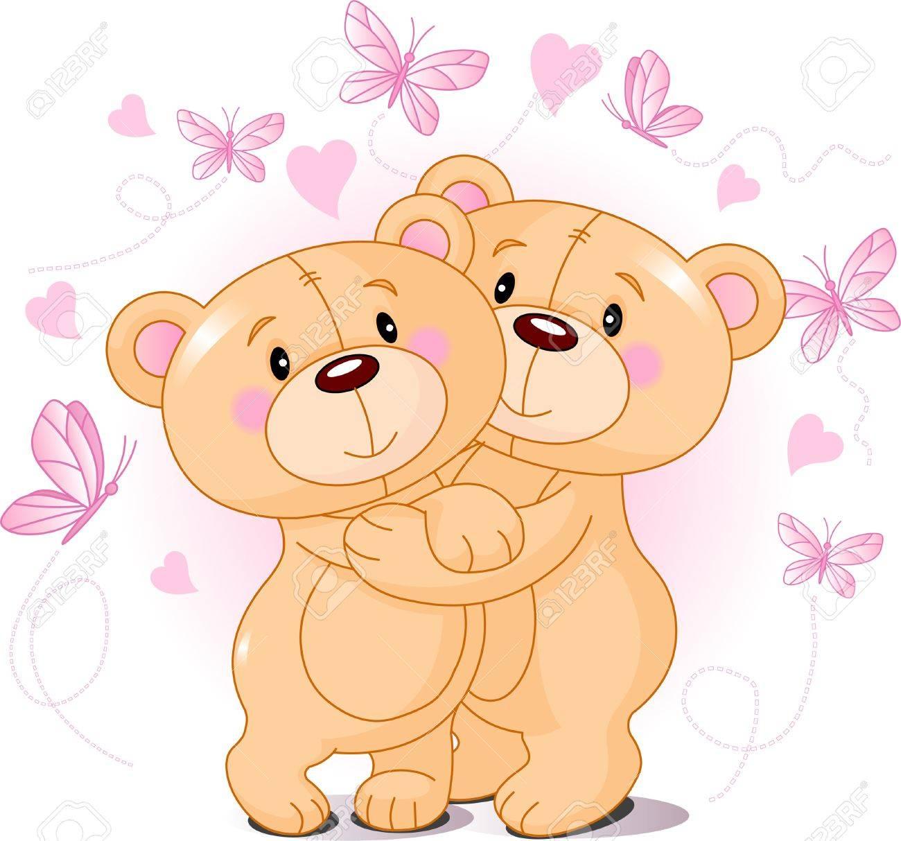 Two cute Teddy bears in love Stock Vector - 8468976
