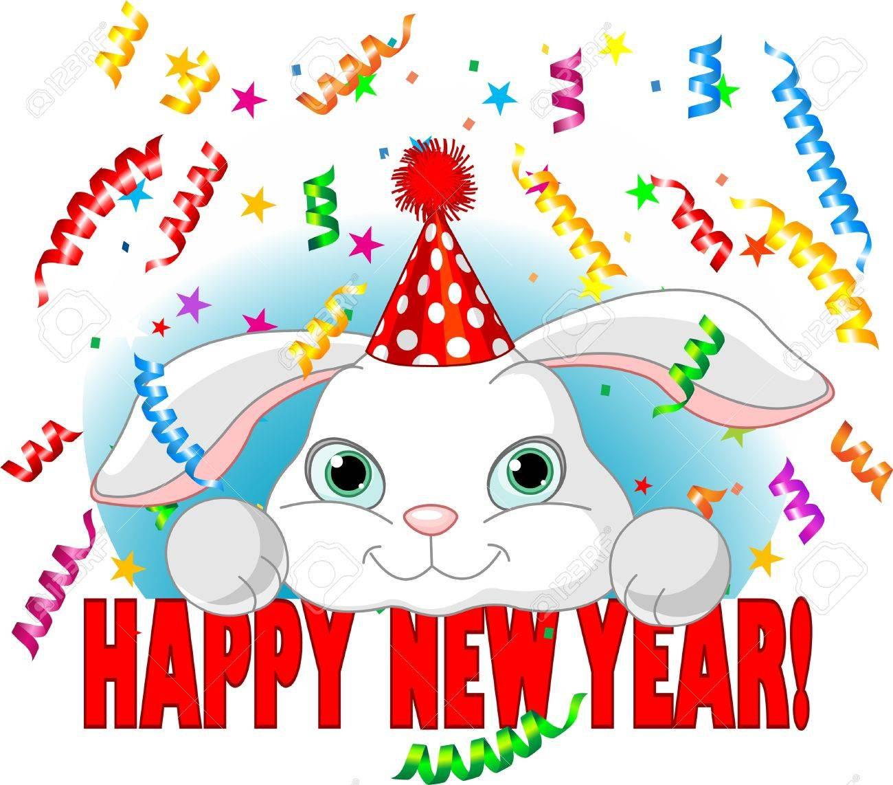 Cute white baby rabbit with party hat celebrating New Year Stock Vector - 8468979