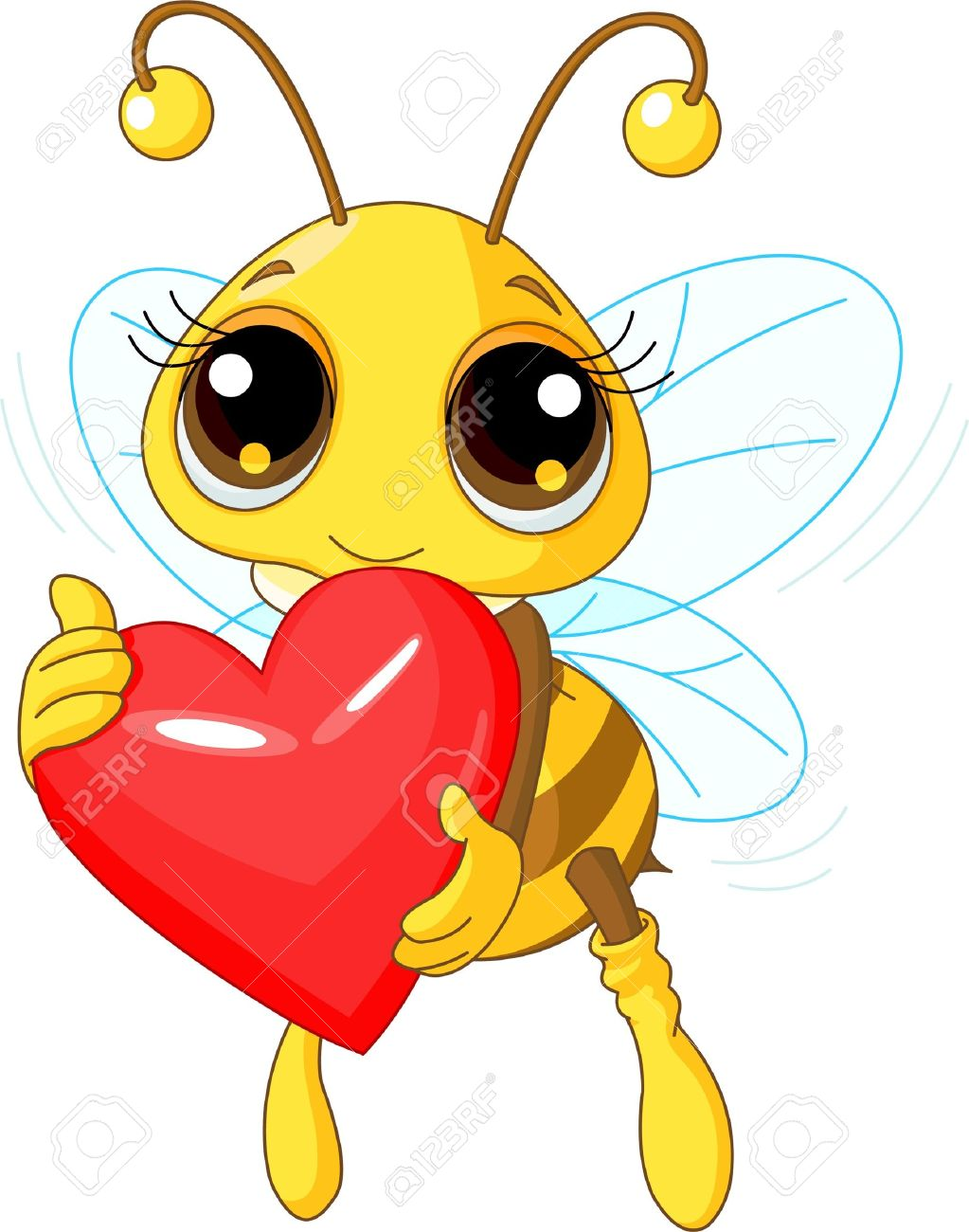 Illustration of a Cute Bee holding Love heart Stock Vector - 8525083