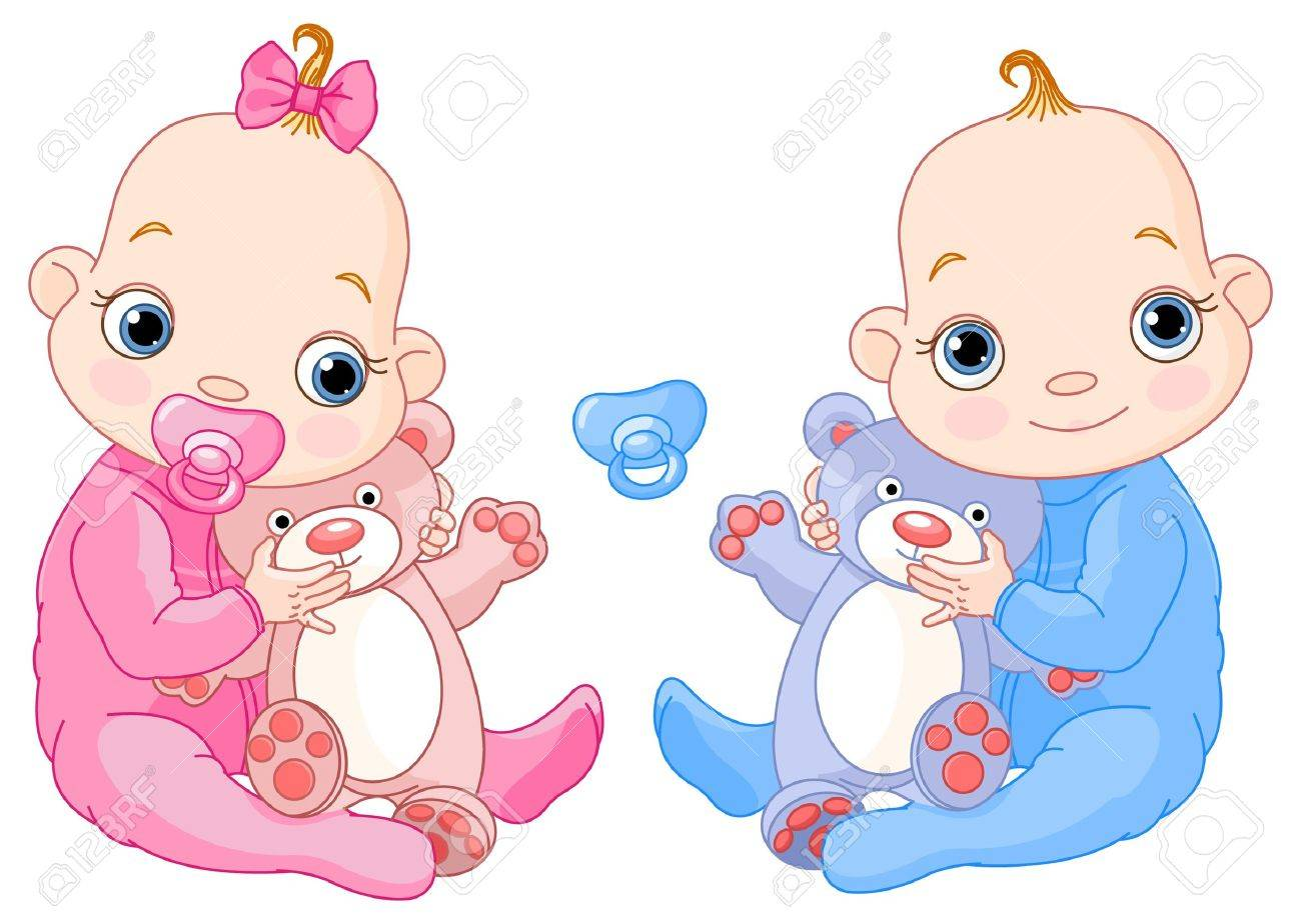 Illustration of Cute twins with toys. You can easily add or remove the pacifier to each of them - 8567098