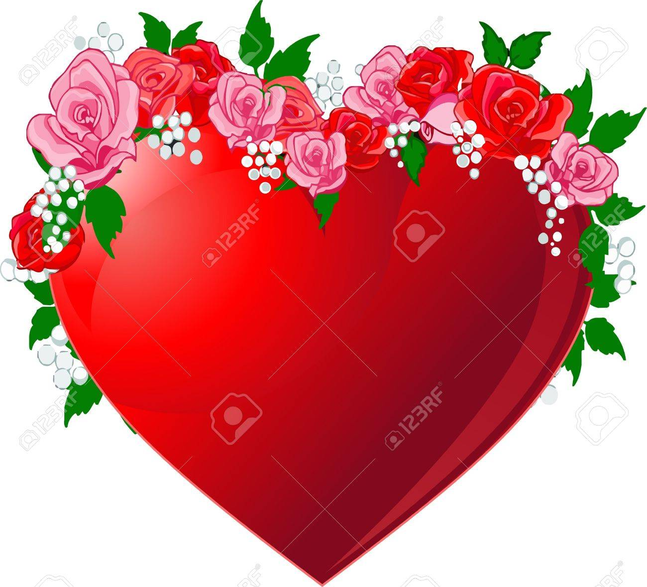 Illustration of Red heart  flanked by roses Stock Vector - 8623511
