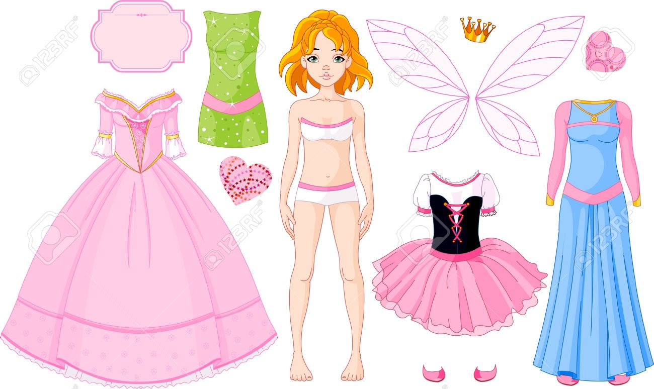 Dress up princess doll - Paper Doll With Different Princess Dresses Stock Vector 8623517