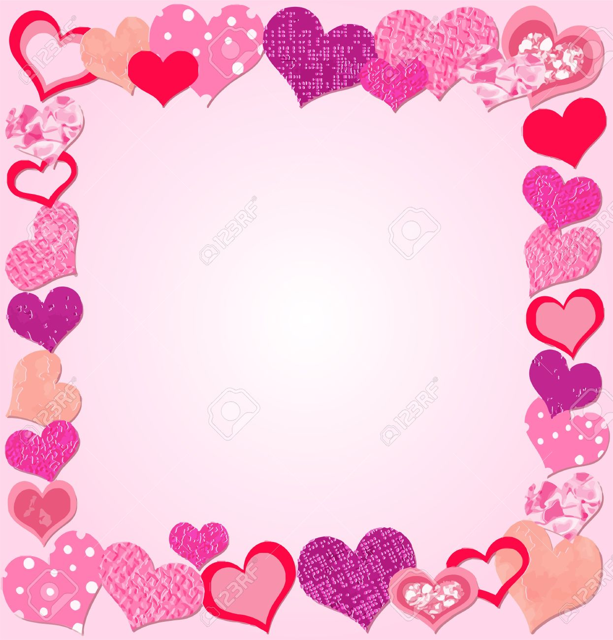 Valentine Day Pink Frame With Hearts Royalty Free Cliparts, Vectors ...