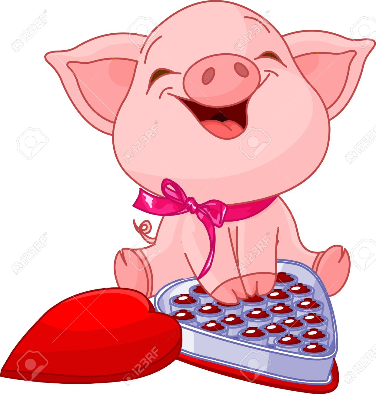 Cute pretty pig at valentines day with chocolates royalty free cute pretty pig at valentines day with chocolates stock vector 8623531 voltagebd Image collections