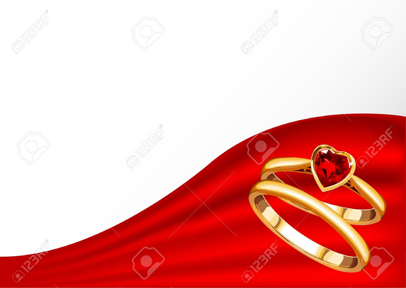 Wedding Card With Gold Rings On Red Royalty Free Cliparts Vectors