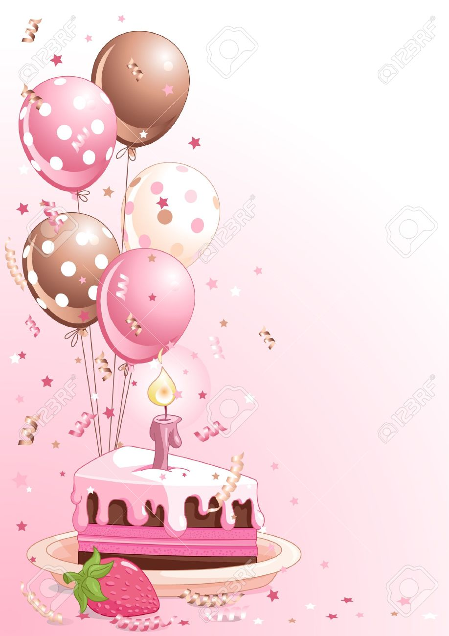 Wondrous Clipart Pink Lustration Of A Slice Of Birthday Cake With Balloons Personalised Birthday Cards Veneteletsinfo