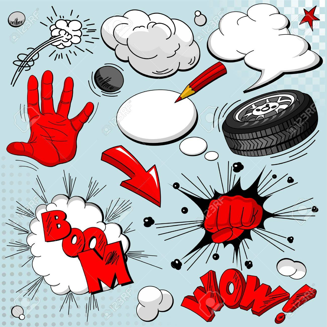 Set of comic book explosions for your design Stock Vector - 8668289