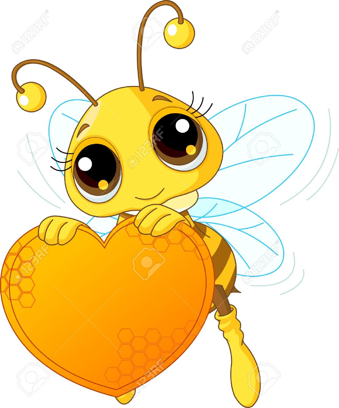 Cute bee holding a sweet  heart with place for copy/text Stock Vector - 8723524