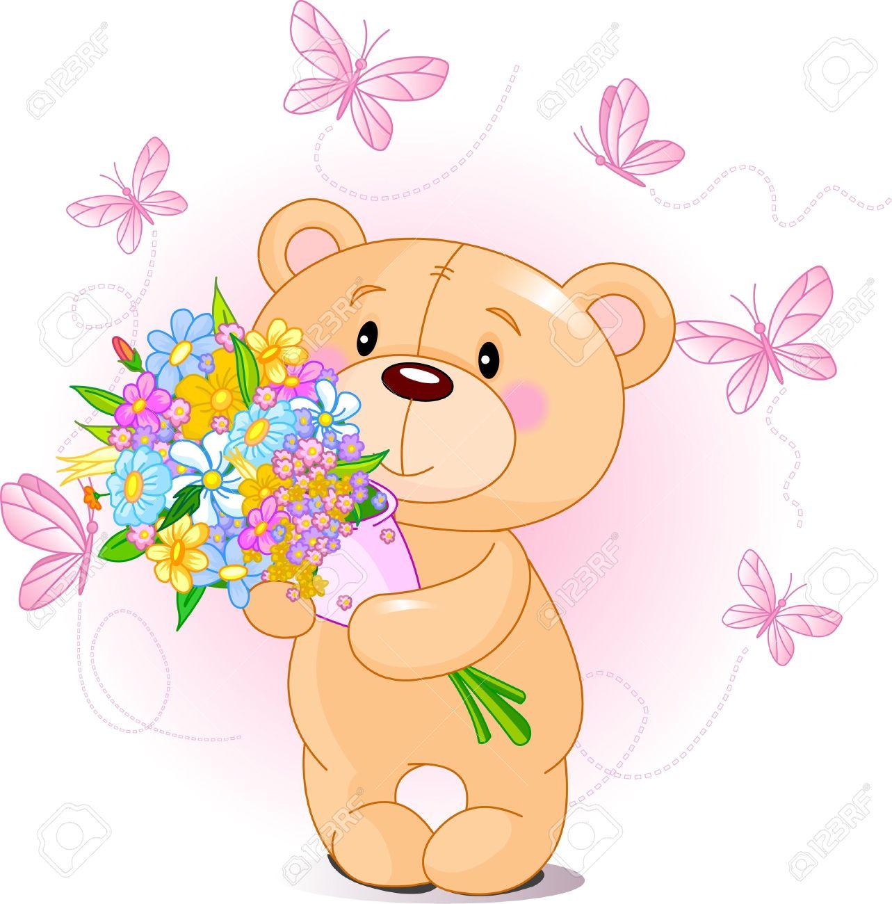 Cute little Teddy bear holding a bouquet Stock Vector - 8723532