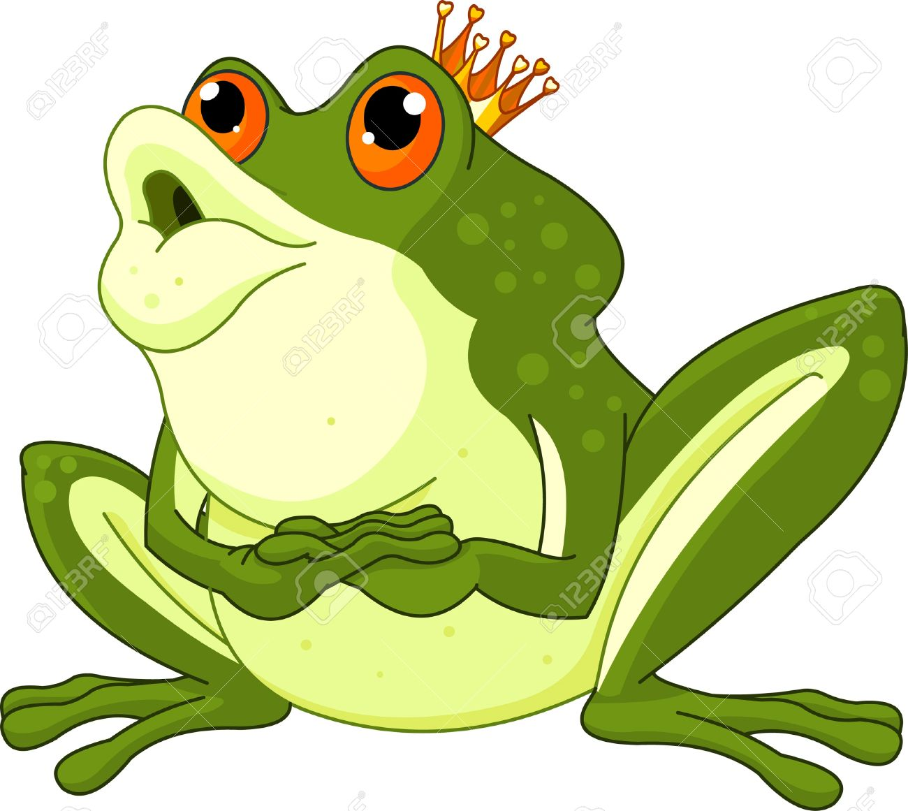 clip art of a frog prince waiting to be kissed royalty free cliparts rh 123rf com