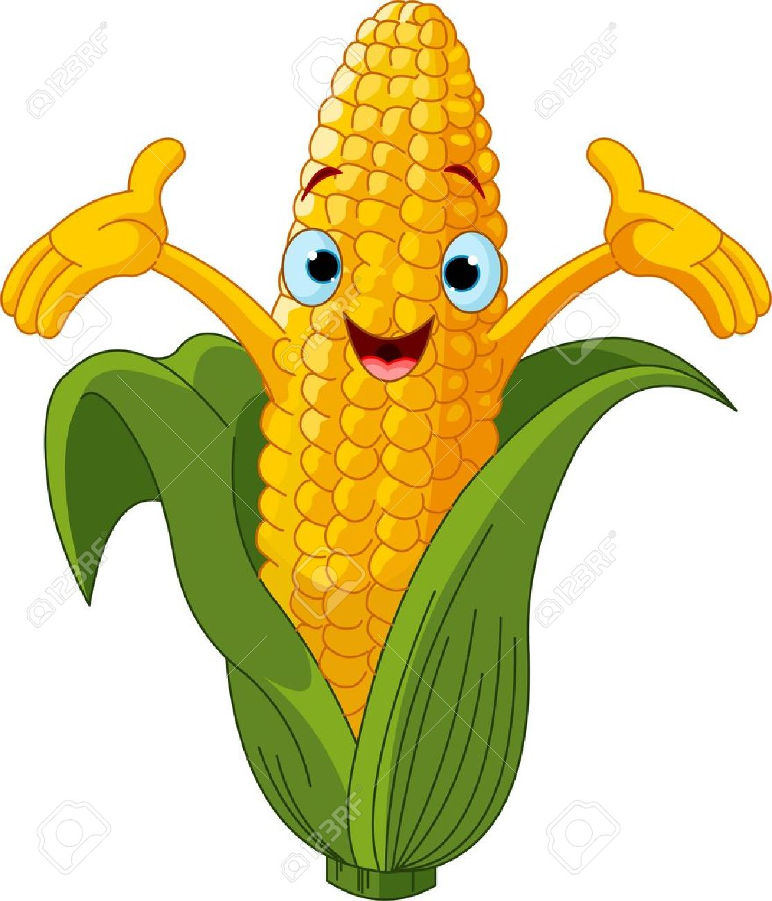 illustration of a sweet corn character presenting something royalty rh 123rf com black and white clipart corn on the cob corn on the cob clip art free