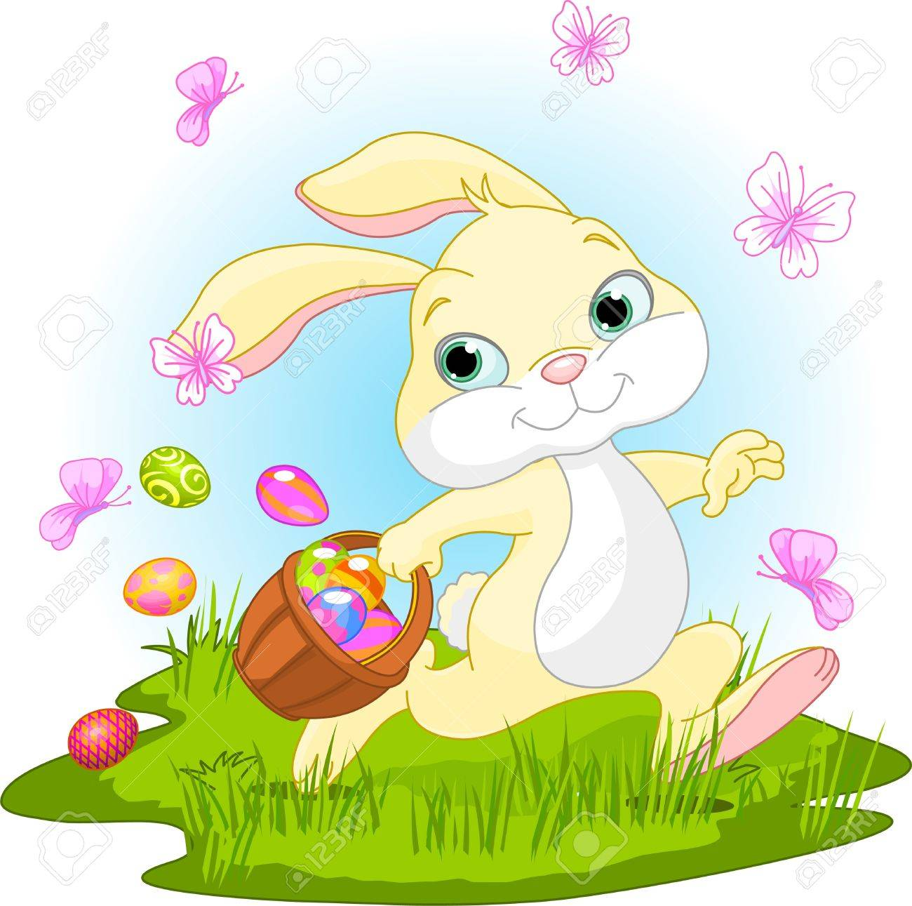 Easter Bunny With Eggs Clipart Easter Bunny Hiding Eggs