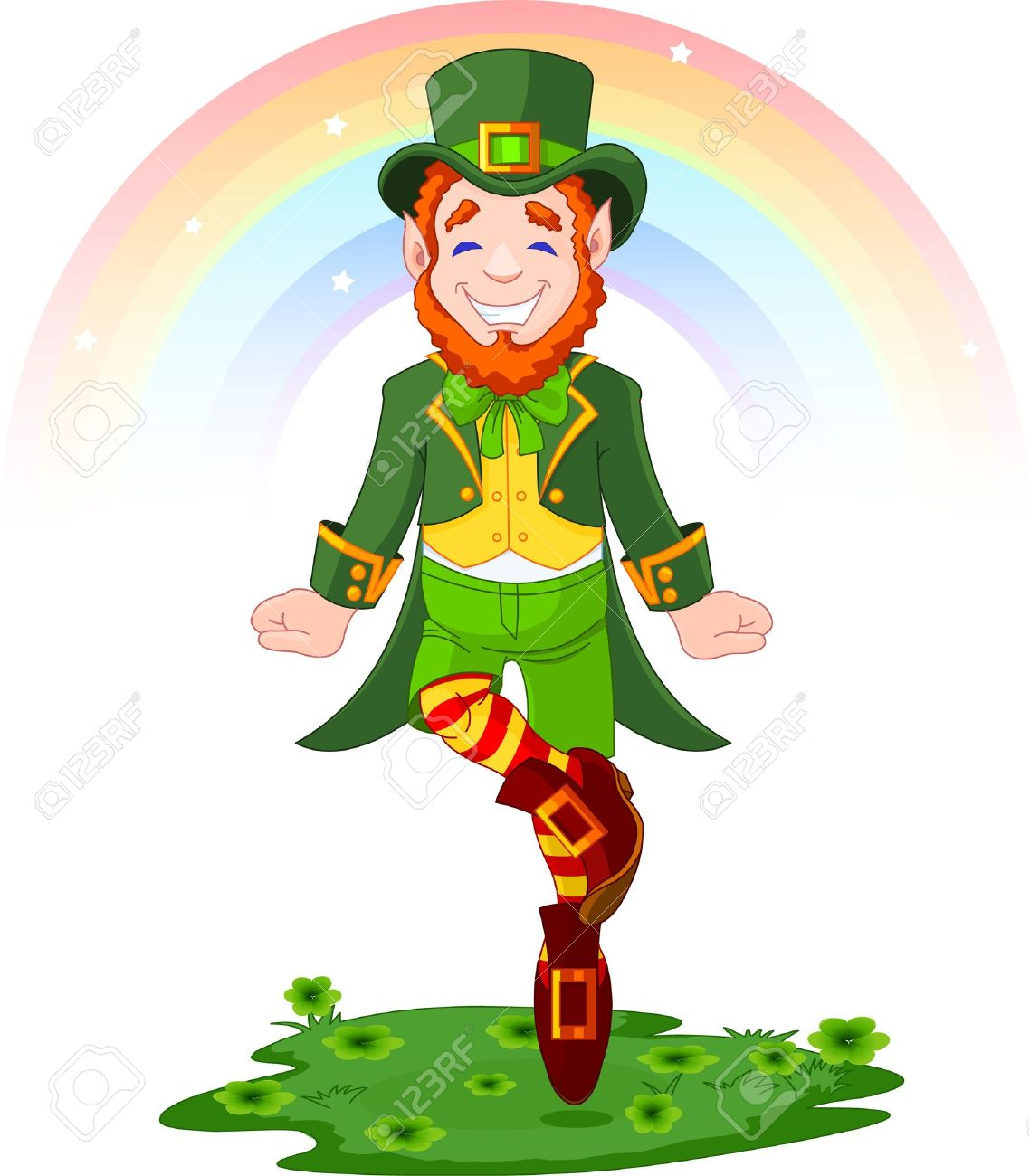 Full length drawing of a leprechaun dancing a jig for St. Patrick's Day Stock Vector - 8922695