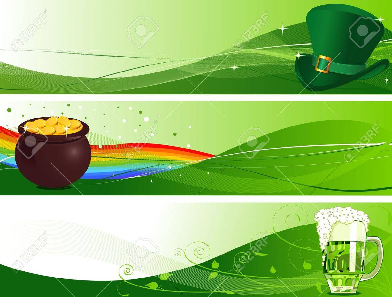 St. Patrick's Day Banners with Leprechaun hat, pot and beer Stock Vector - 8922699