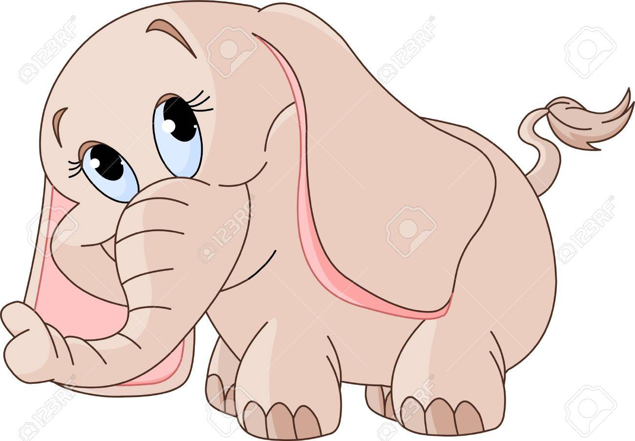 Illustration of cute Little smiling baby elephant Stock Vector - 8922702