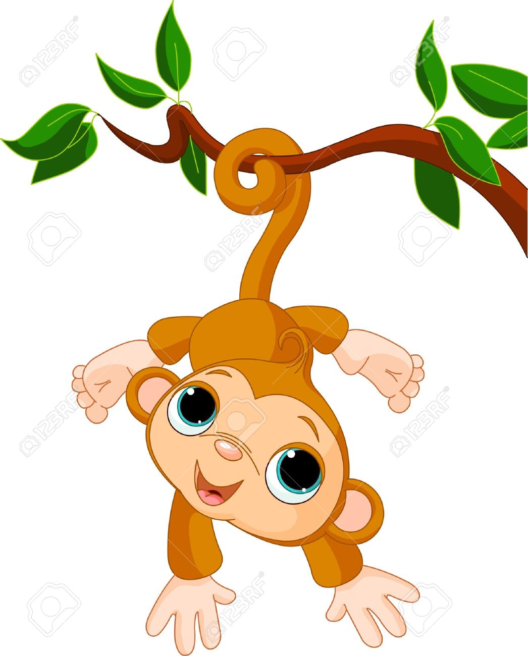 Illustration of Cute baby monkey on a tree Stock Vector - 8922725