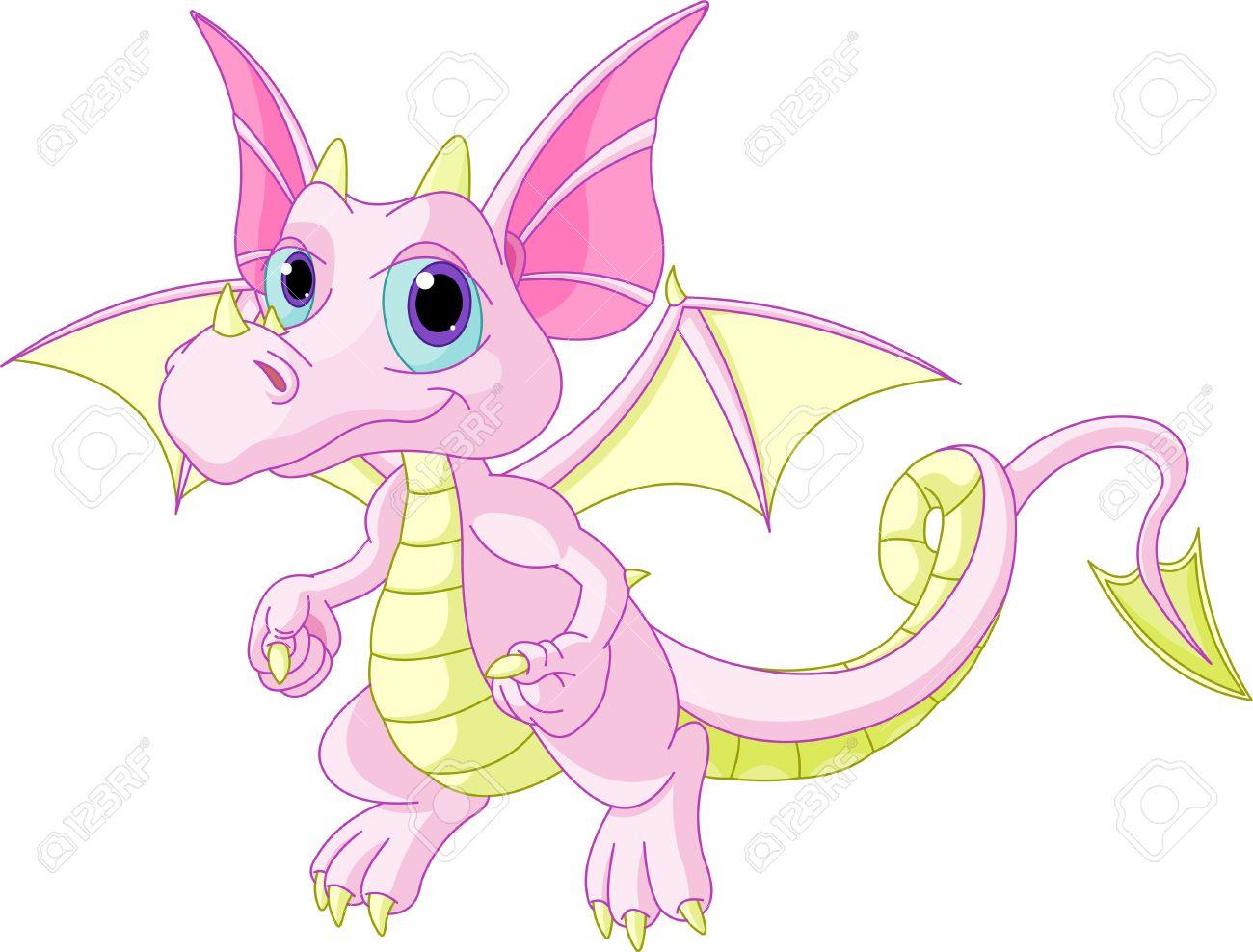 Illustration of Cute Cartoon baby dragon flaying Stock Vector - 8983176