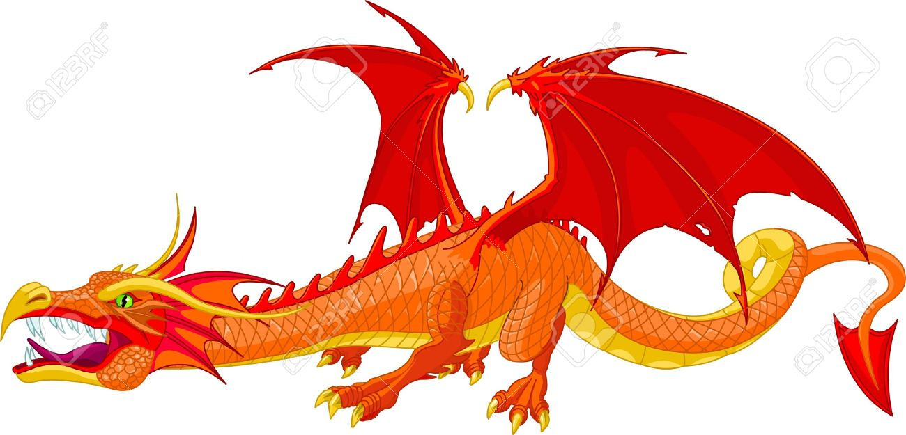 Illustration Of A Beautiful Detailed Red Dragon Royalty Free
