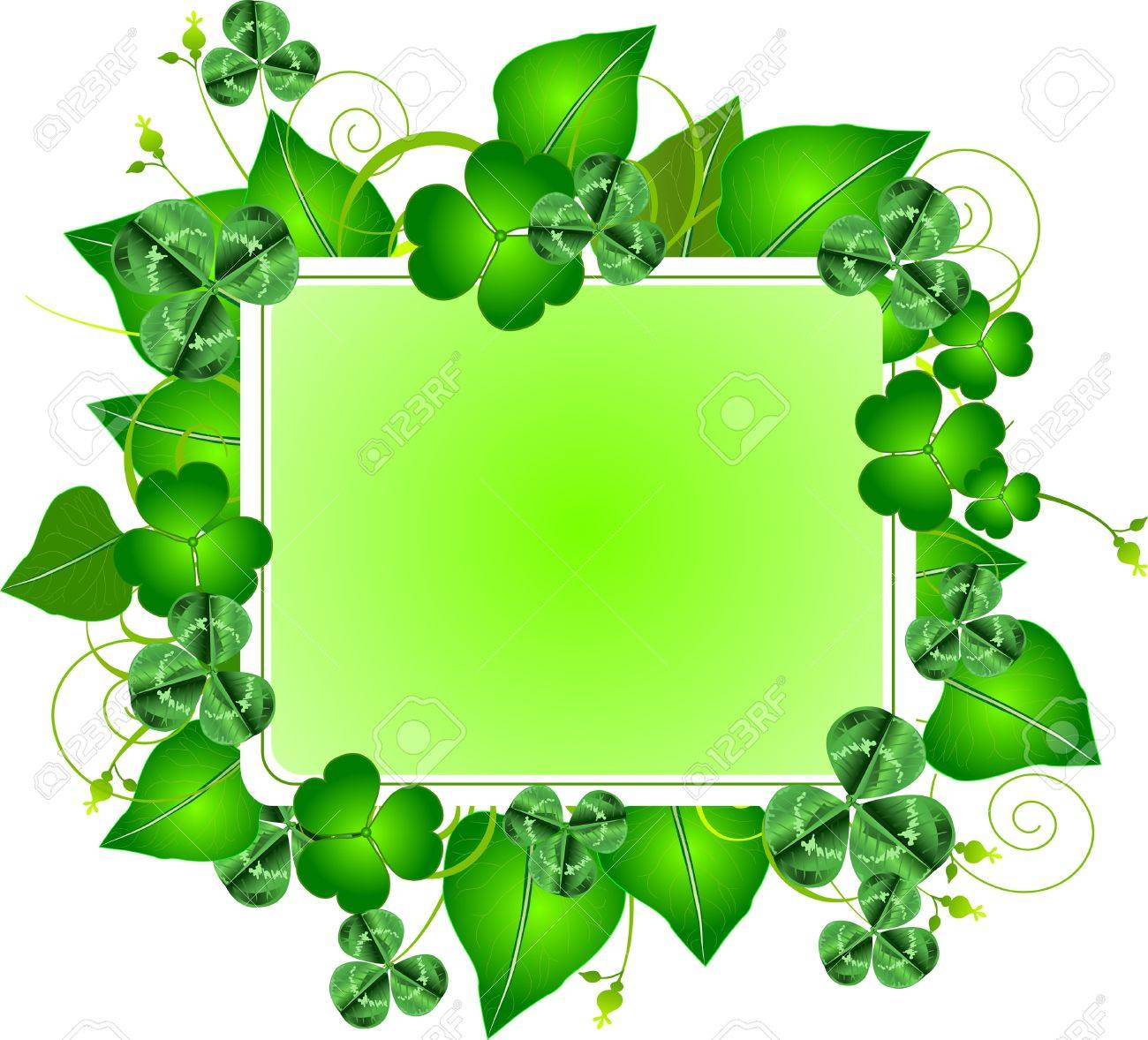 three leafed clover frame for st patricks day royalty free