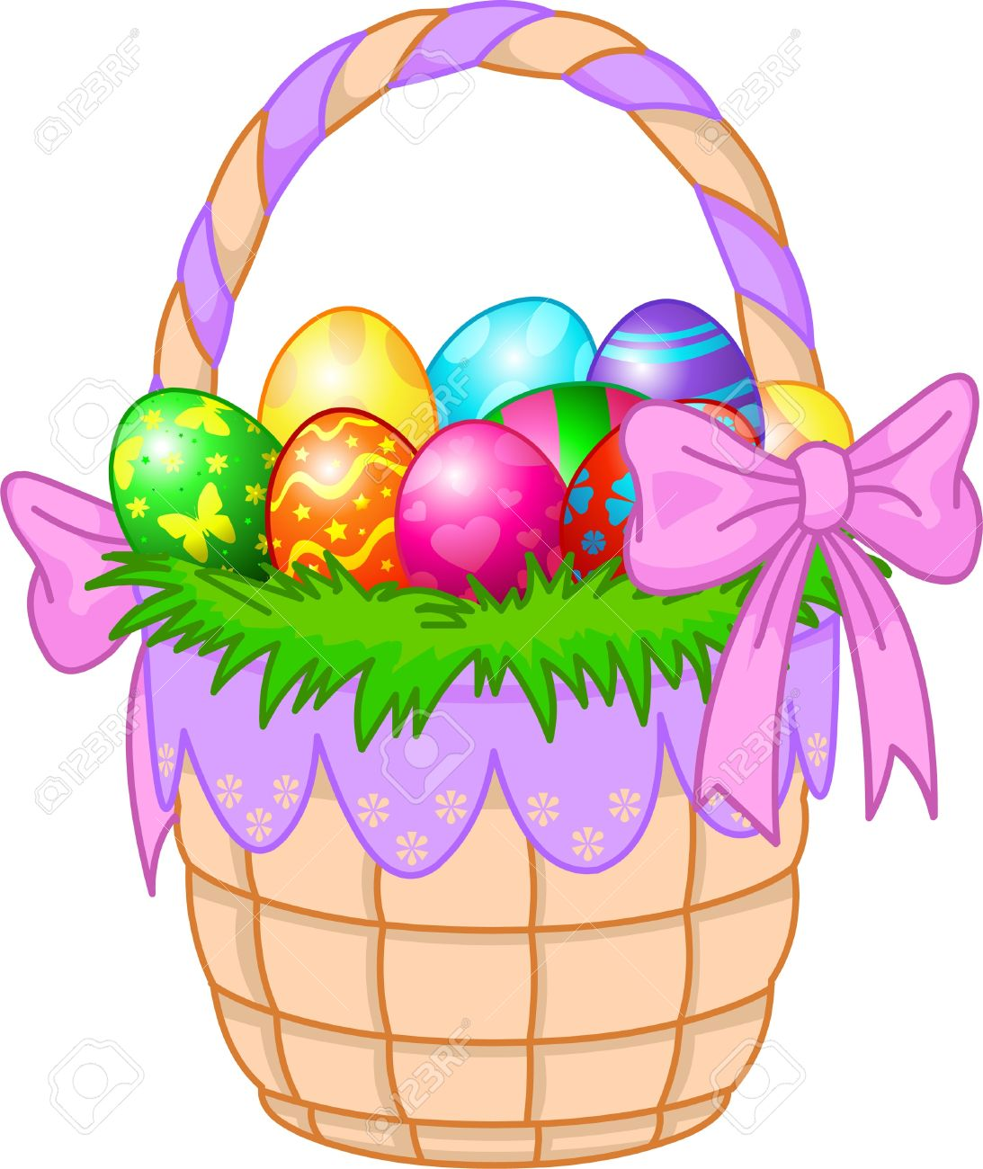 Beautiful Easter Basket With Colorful Eggs Stock Vector