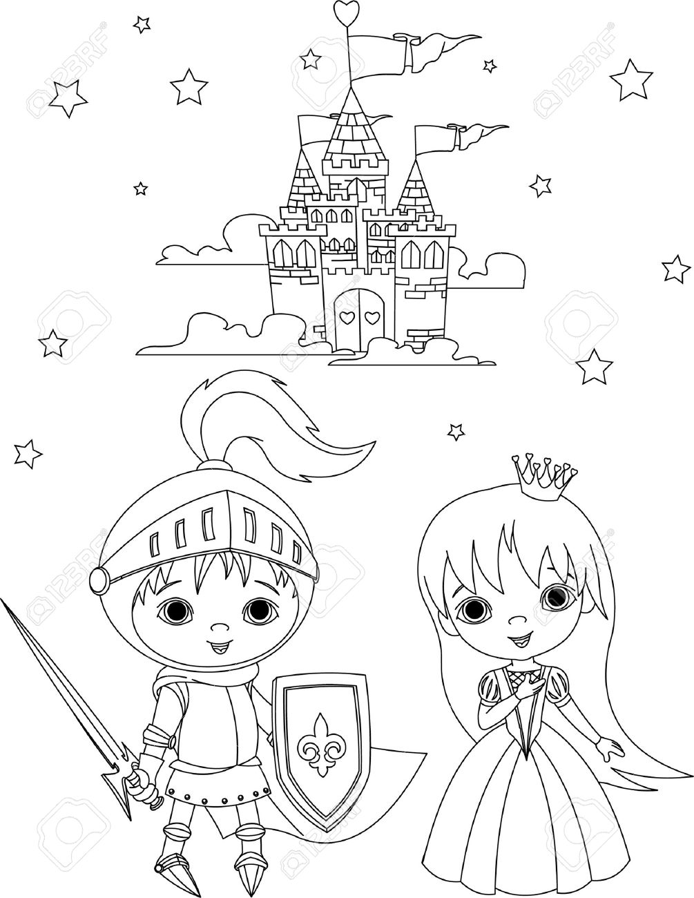 Little boy as a knight and girl as a princess coloring page Stock Vector - 9078412