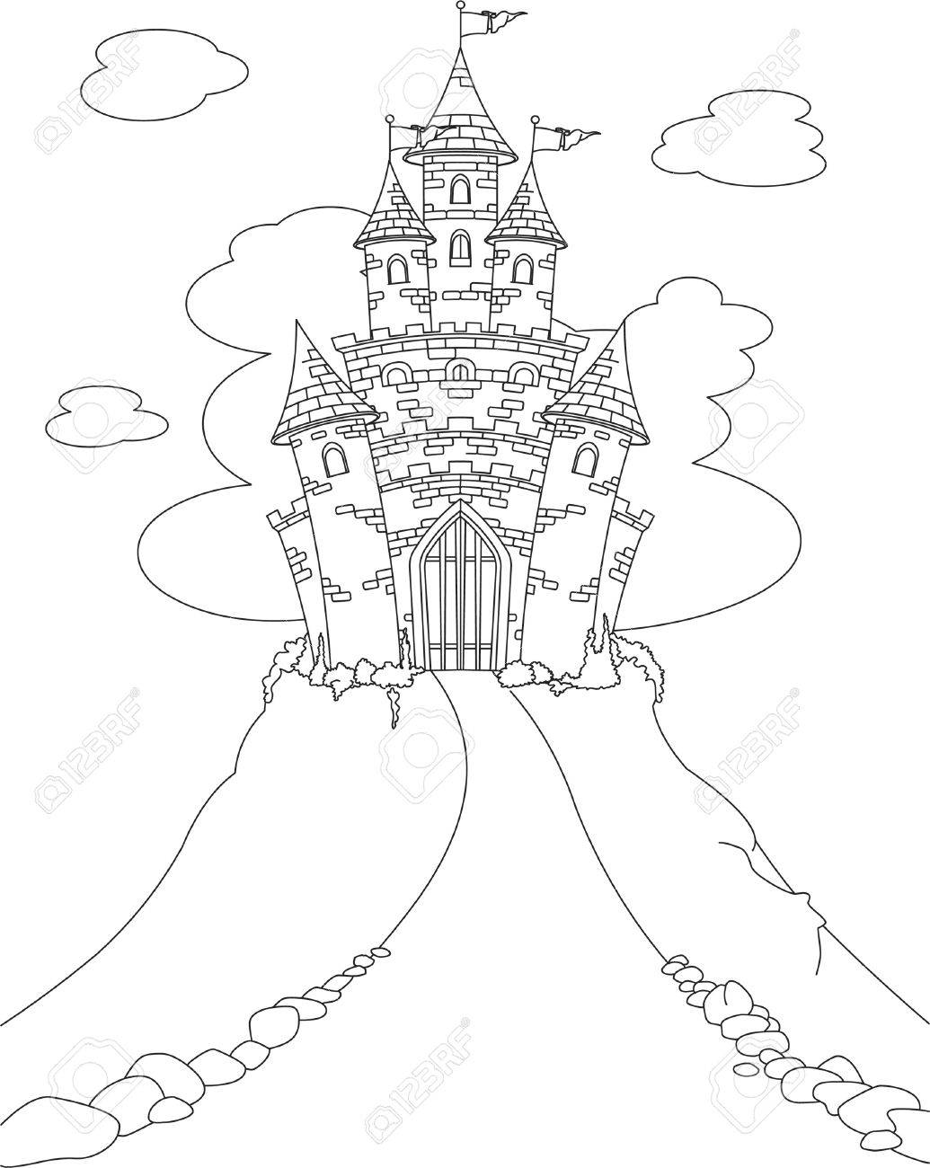 coloring page with magic fairy tale princess castle stock vector 9078418