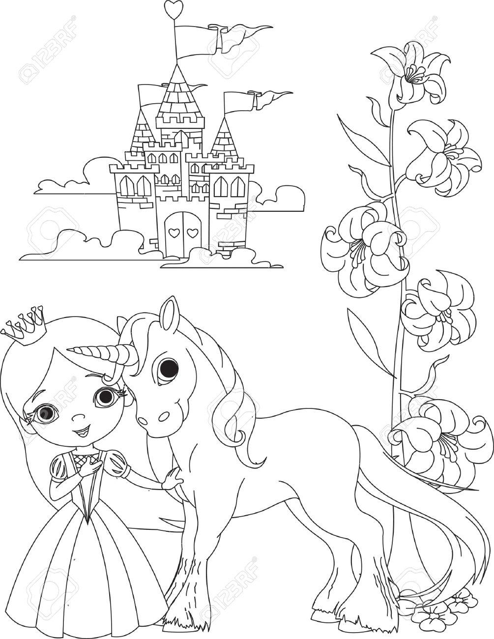 La Belle Princesse Et Sa Licorne Cute Page A Colorier Clip Art Libres De Droits Vecteurs Et Illustration Image 9078419