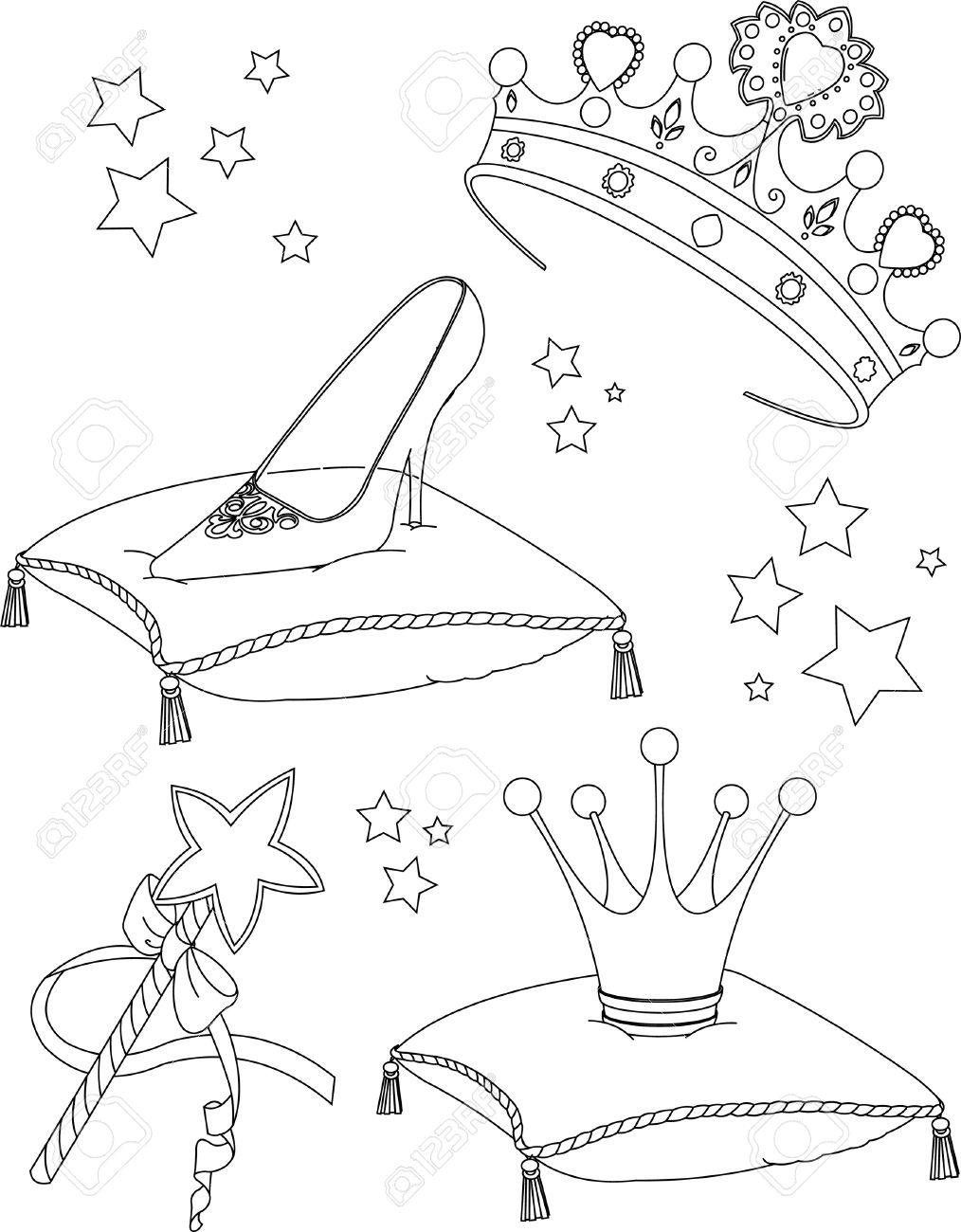 Beautiful Princess Collectibles Coloring Page Royalty Free Cliparts ...