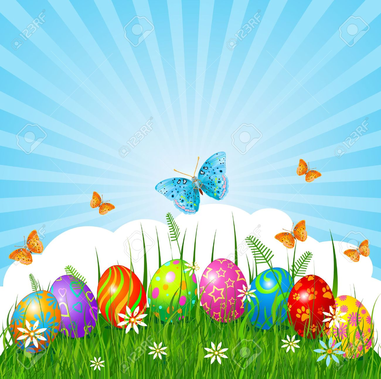Radial Easter Place Card With Eggs In Grass Stock Vector