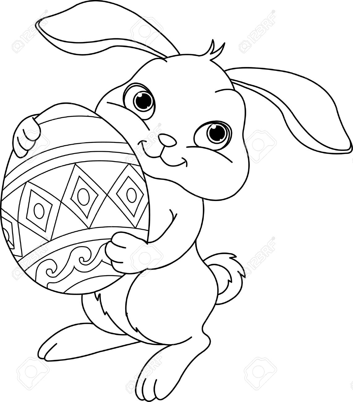Illustration Of Happy Easter Bunny Carrying Egg Coloring Page Stock Vector