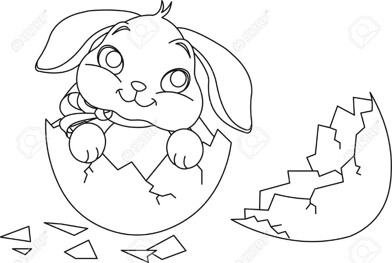 Easter Bunny Sitting In The Broken Easter Egg. Coloring Page Royalty ...