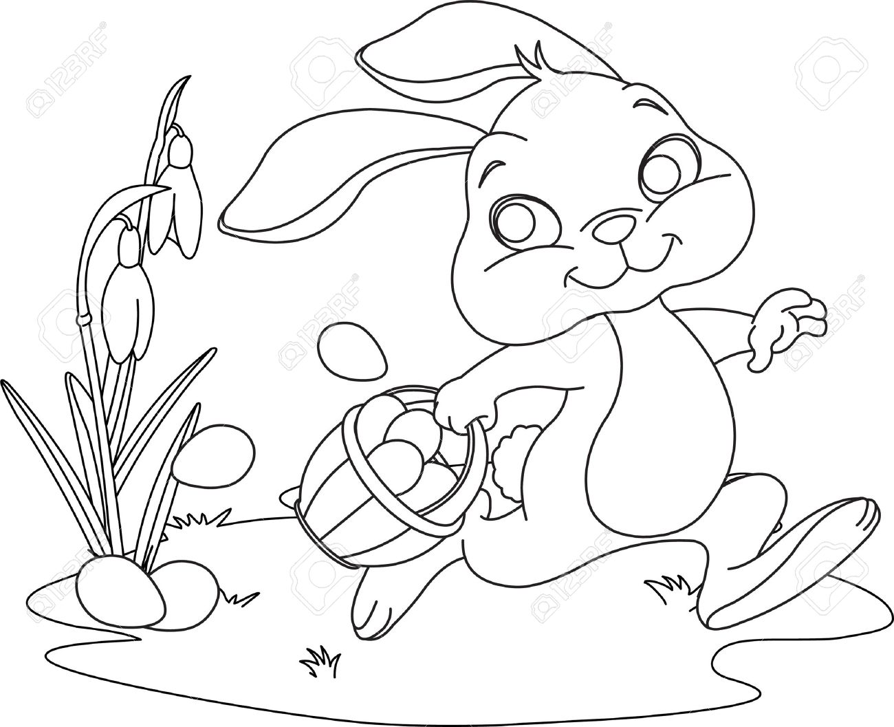 Cute Easter Bunny Hiding Eggs. Coloring Page Royalty Free Cliparts ...