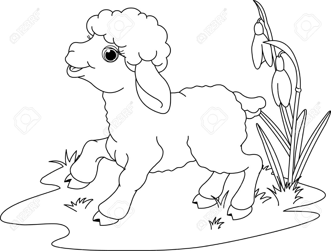 Easter Lamb On The Meadow Coloring Page Stock Vector