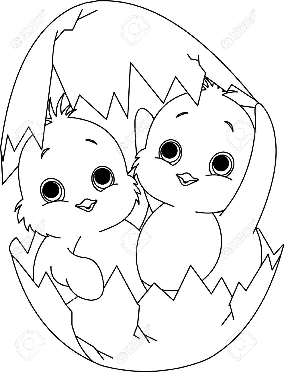 Two Easter Chickens Hatched From One Egg Coloring Page Royalty Free