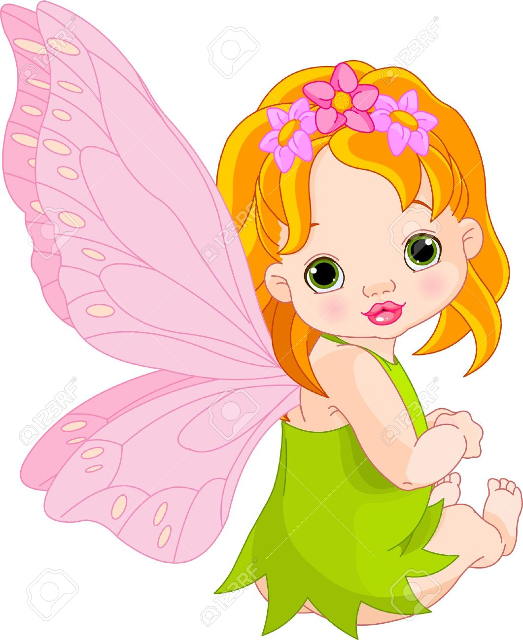 sitting cute baby fairy royalty free cliparts vectors and stock